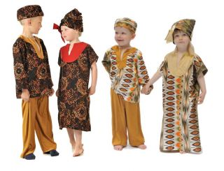 Children's Kids Boys Girls African Girl Lady Boy Man Fancy Dress Up Costume