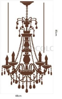 Hmdecor Chandelier Vinyl Wall Decal Bedroom Wall Stickers Brown