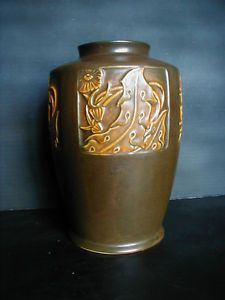 "Roseville Pottery 10"" Rosecraft Panel Vase"