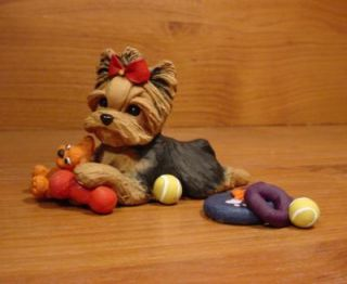 Original Yorkie Yorkshire Terrier Dog Toys Sculpture Claydogz Mandyo OOAK