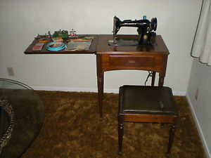 Vintage Singer 128 23 Sewing Machine 1851 1951 Mint Original with Original Seat