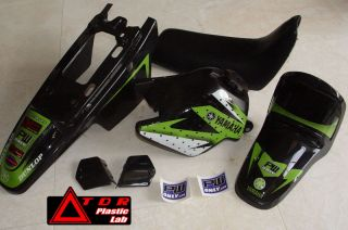 Yamaha PW50 PW 50 Black Plastic Fender Kit and Seat with Green Graphic Kit New