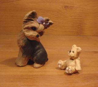 Original Yorkie Yorkshire Terrier Teddy Bear Dog Sculpture Claydogz Mandyo OOAK