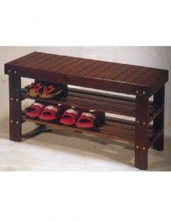 New Wooden Brown Shoe Storage Sitting Bench Entryway Mudroom Bedroom Organizer
