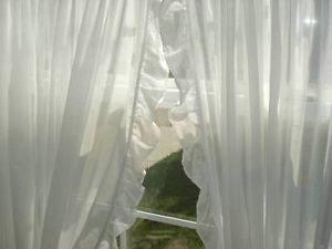 "2 Rachel Ashwell Simply Shabby Sheer White Voile Ruffled Curtains 124"" x 66"""
