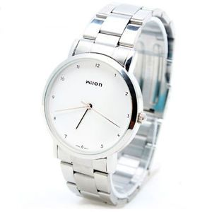 Elegant Wilon Small Numbers White Dial Mens Womens Stainless Steel Wrist Watch