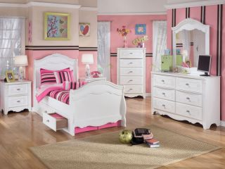 Carla 5pcs Youth Twin Full White Sleigh Storage Bed Children Kids Bedroom Set
