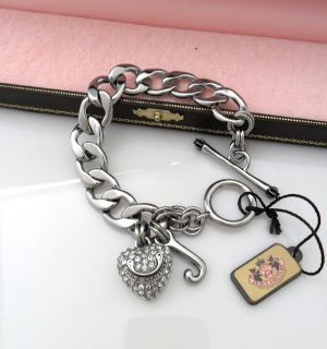 Auth Juicy Couture Pave Silver Starter Bracelet $58 New Without Box