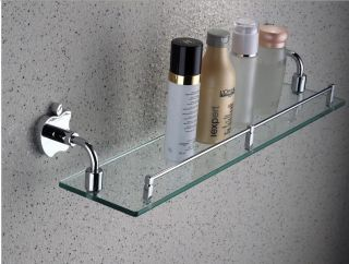 New Wall Mounted Chrome Brass Bathroom Shelf Glass Shower Caddy Storage Holder