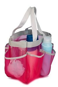 Dorm Travel Pool Caddy Shower Tote Pink Mold Resistant w 6 Compartments New