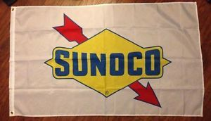 White Sunoco Flag Sign Banner Service Gas Station Mint Condition 3x5 Feet Long