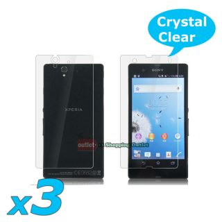 3X Front Back Clear LCD Screen Protector Guard Film for Sony Xperia Z L36H