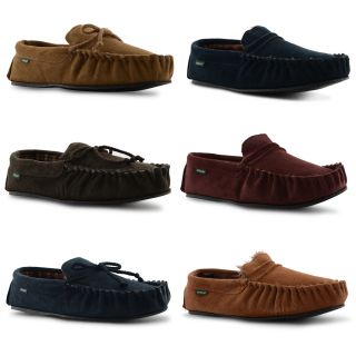 New Mens Dunlop Real Leather Soft Suede Moccasin Winter Slippers Size UK 7 11