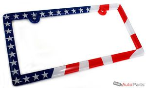 American USA Flag License Plate Frame for Auto Car Truck SUV Front or Rear Back