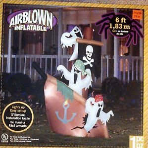 Gemmy Airblown Inflatable Halloween Ghost Pirate SHIP 6ft