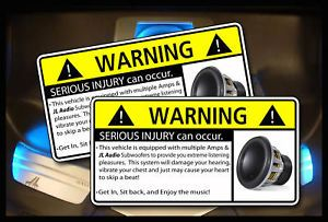 JL Audio Subwoofer Bass Amp Warning Sticker Decal W7