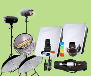 800W Strobe Studio Flash Lighting Kit 2X 400W Light Photography 1K1