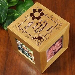 Personalized Bridesmaid Wedding Gift Engraved Wood Photo Cube Picture Frame