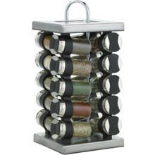 Martha Stewart Collection Square Stainless Steel Spice Rack 20 Piece Set