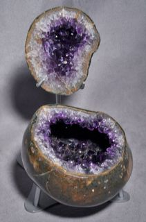 Uruguay Amethyst Two Piece Geode Crystal on Display Stand Table Top Specimen