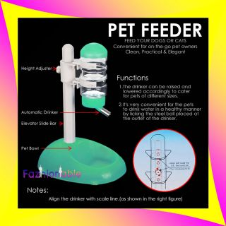 Pet Green Cat Dog Hamster Water Food Stand Deluxe Feeder Dish Bowl Bottle Set