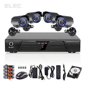 Elec® 4CH CCTV DVR Motion Detection Security System Outdoor Color Cameras 500GB