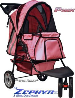 New Pink 3 Wheel Dog Cat Stroller Carrier Pet Strollers