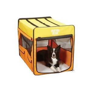 Large Portable Pet Dog House Soft Crate Carrier Kennel Foldable Orange Yellow