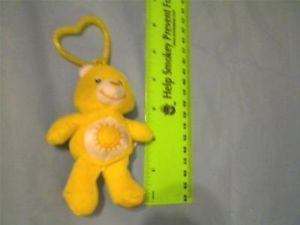 "Burger King 4"" Care Bears Sunshine Plush Keychain or Jacket Pull Toy"