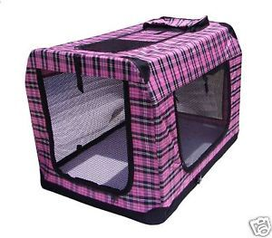 "BestPet 24"" Portable Fashion Pink Plaid Pet Dog House Soft Crate Cage Carrier"