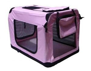 "42"" Pink Portable Pet Dog House Soft Crate Carrier Cage Kennel Free Carry Case"