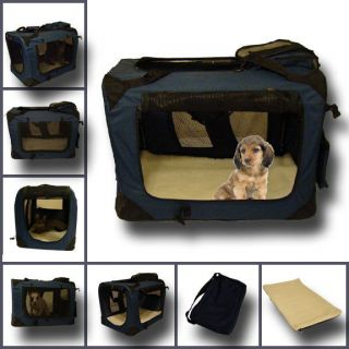 Portable Pet Dog Cat House Soft Travel Crate Carrier Cage Kennel Foldable Blue