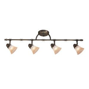 Portfolio 4 Head Track Light Aged Bronze Finish 239998 Glass Shades Bulbs Incl