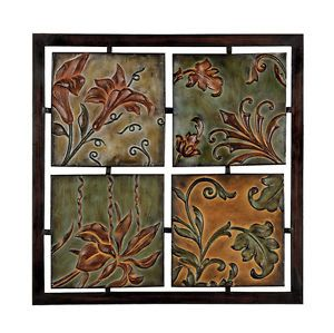 Tuscan Flowers Floral Antiques Finished Metal Wall Art Decor Panel Sculpture