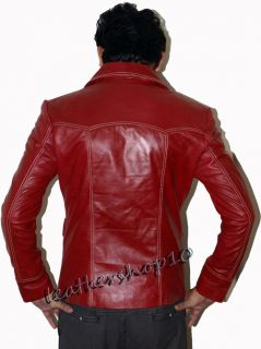 Fight Club Red Vintage Leather Jacket Worn $ Brad Pitt