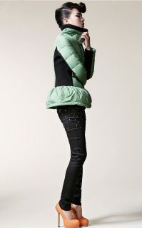 Fashion Green Black Puffy Peplum Slim Duck Down Thick Warm Short Coat Outwear