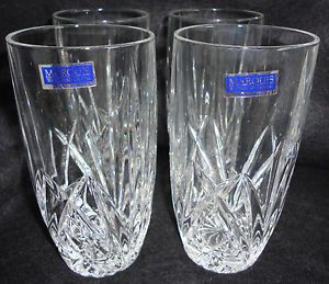 Marquis by Waterford 4 Brookside Water High Ball Crystal Glasses