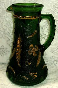 Antique Victorian EAPG US Glass Delaware Emerald Green w Gold Water Pitcher