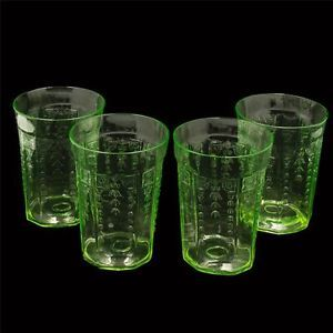 4 Hocking Green Uranium Depression Glass Water Tumblers Princess Pattern 4""