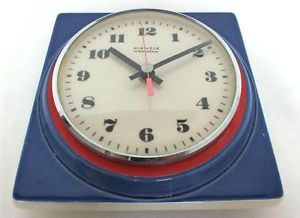 German Kienzle Blue White Red Wall Clock Electric Dial Kitchen Hall Wall Clock