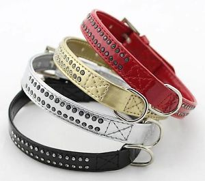 Fashion Pet Dog Collar Wholesale Small Dog Collars Two Lines Rhinestones 4 Color
