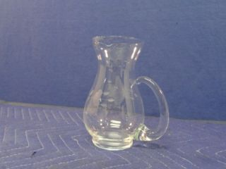 Etched Cut Glass Crystal Water Pitcher Princess House Clear T86