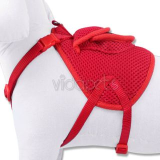 "12 17"" Red Backpack Dog Harness Adjustable Comfort Wrap Pet Collar XS Small"