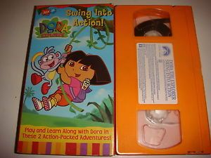 Nick Jr VHS Dora The Explorer Swing Into Action Play Learn Along with Dora