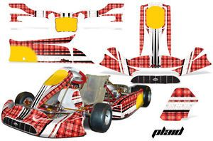 AMR Racing Graphic Sticker Decal Kit Tony Kart Venox Parts Accessories Plaid Red