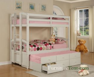 Kids Teen Wood White Twin Twin Bunk Bed Trundle Drawers