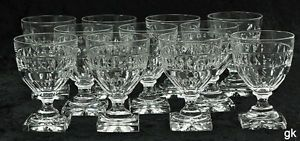 11 Excellent Cut Glass Crystal Water Glasses Square Base Star Cut Diamond Shape