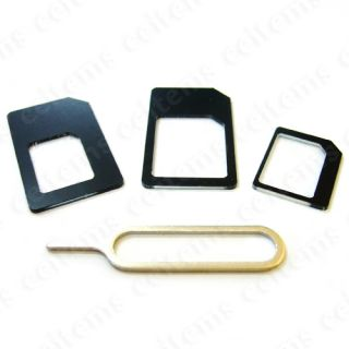 3in1 Nano Sim to Micro Sim Standard Sim Card Slot Adapter for iPhone 5 4S I Pad