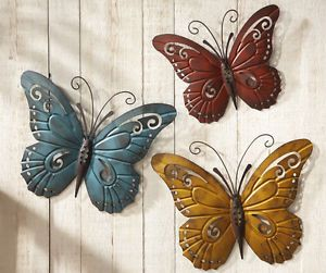 Nature Inspired Metal Butterfly Wall Art Trio Indoor Outdoor 3D Wall Decor