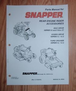 Snapper Rear Engine Riding Mower Accessories Parts Manual